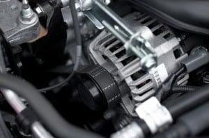 Fan belt on an engine