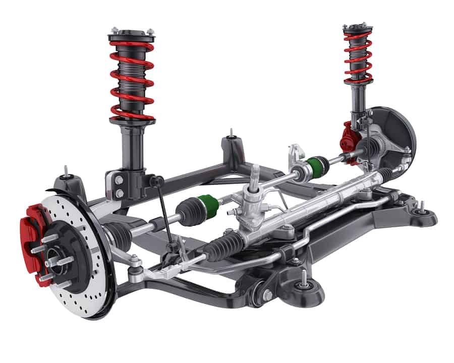Car suspension, brake disc and steering