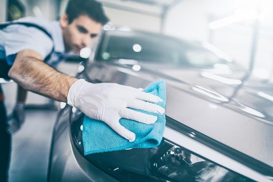 polishing and waxing a car