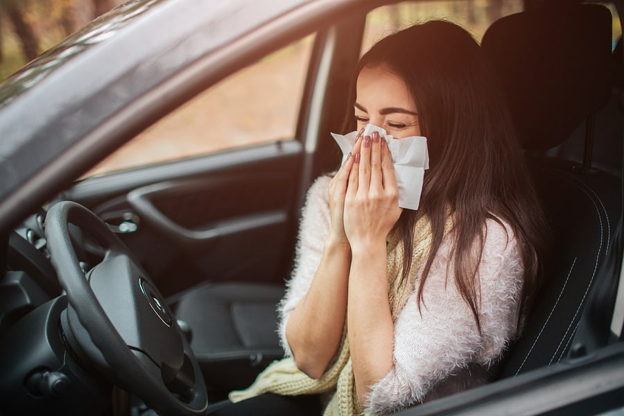 woman suffering from hayfever in spring