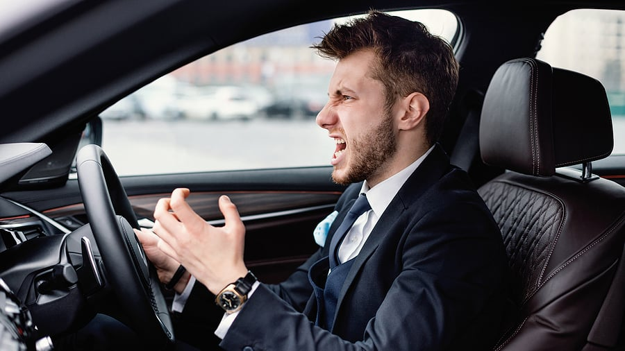 driver showing signs of stress
