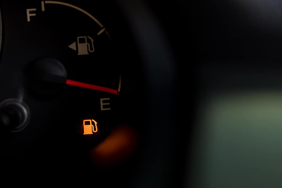 fuel gauge with fuel warning light on
