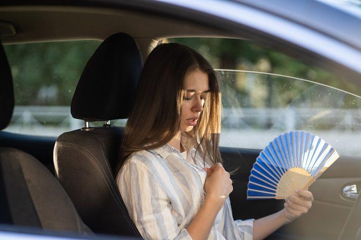 woman in a hot car